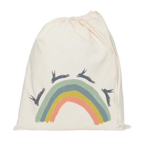 Rainbow and leaping hares drawstring bag