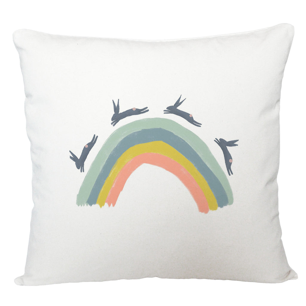 Rainbow with hares cushion cover