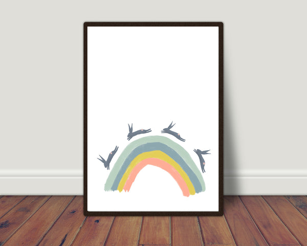 Rainbow with hares print/ wall art