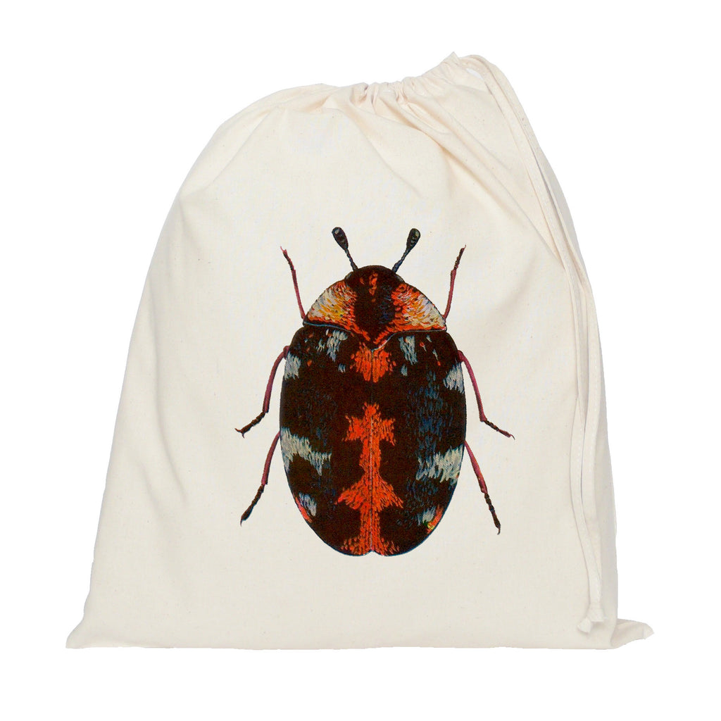 Red beetle drawstring bag