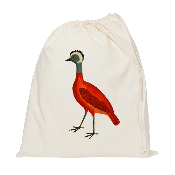 Red bird drawstring bag