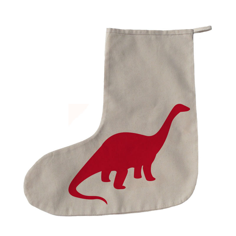 Red bird dinosaur Christmas stocking