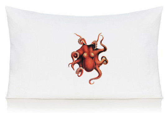 Red octopus pillow case