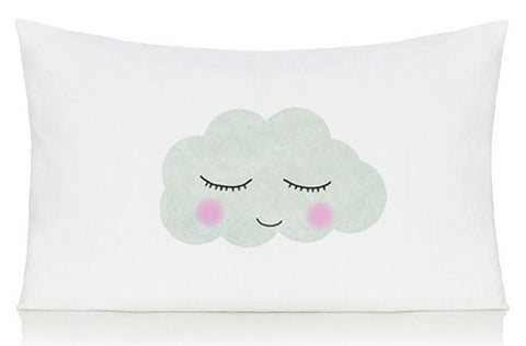 Sleepy cloud face pillow case