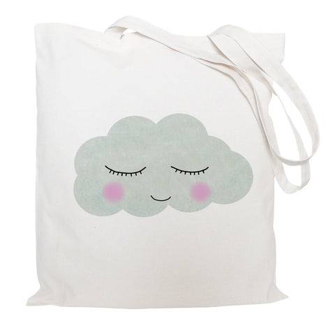 Sleepy cloud face tote bag