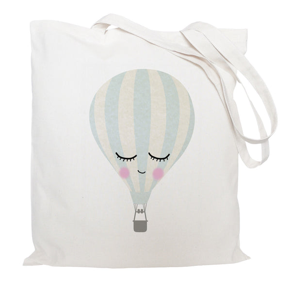 Sleepy face, hot air balloon tote bag