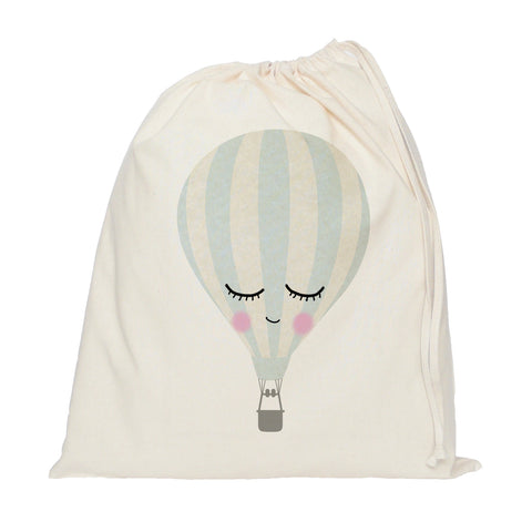 Sleepy hot air balloon drawstring bag