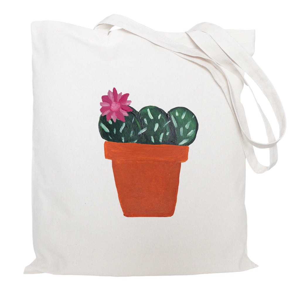 Pink flower cactus tote bag