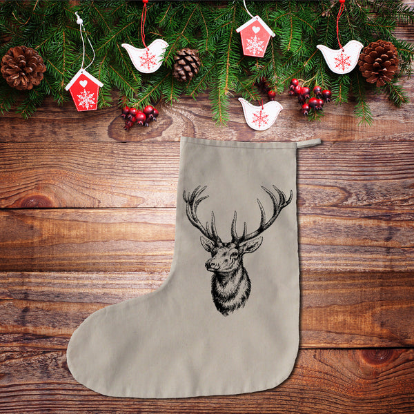 Stag head Christmas stocking