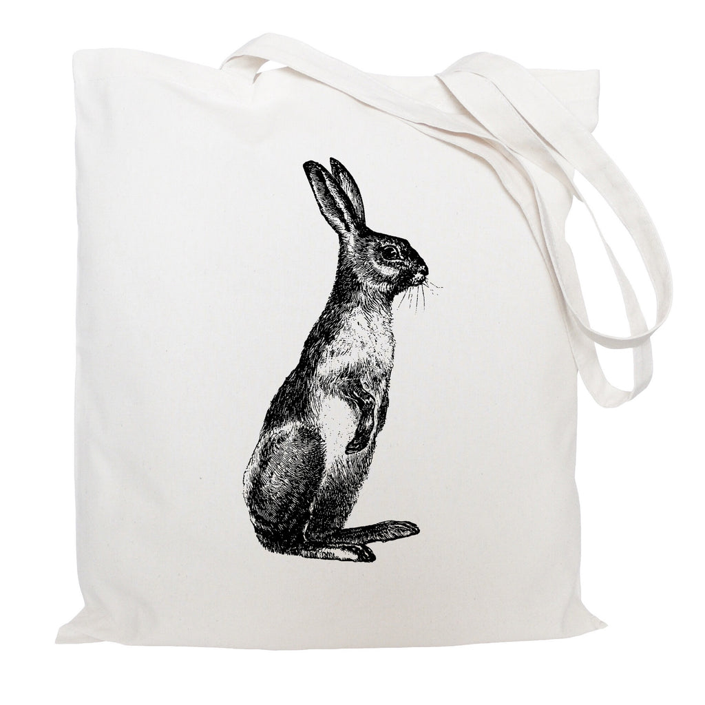 Standing hare tote bag