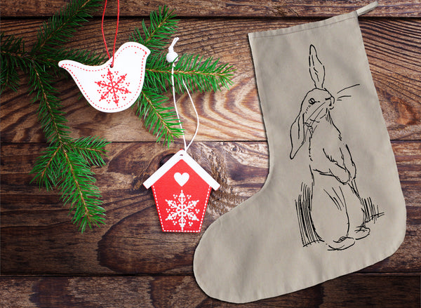 Sketched rabbit Christmas stocking