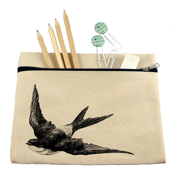 Swallow make up bag/ pencil case