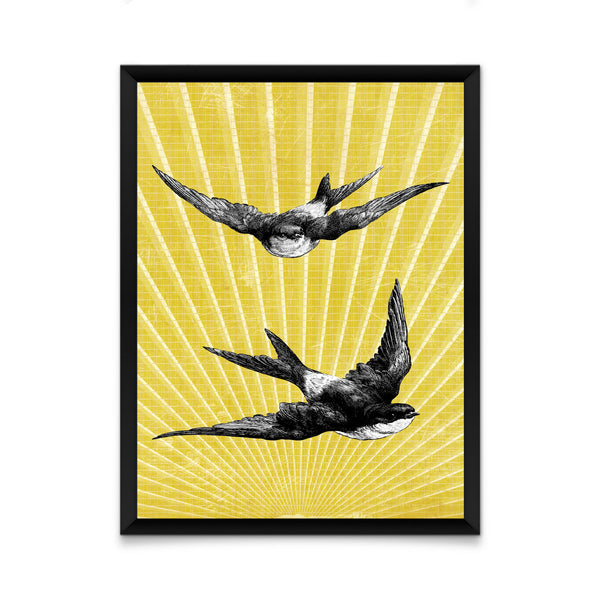 Swallows on sunburst print/ wall art
