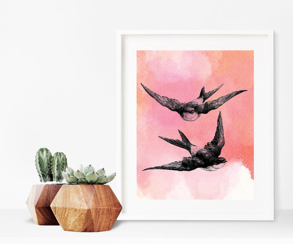 Swallows on pink watercolour print/ wall art