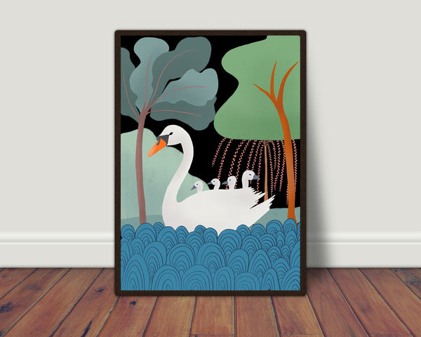 Swan with cygnets print/ wall art