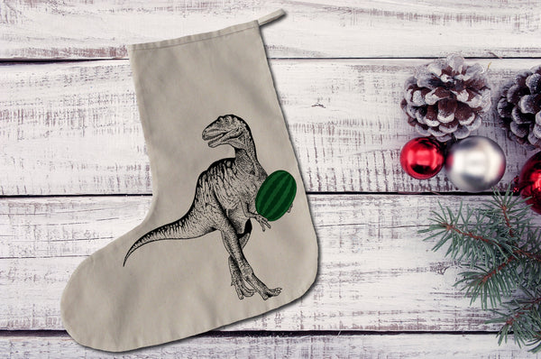 Dinosaur with watermelon Christmas stocking