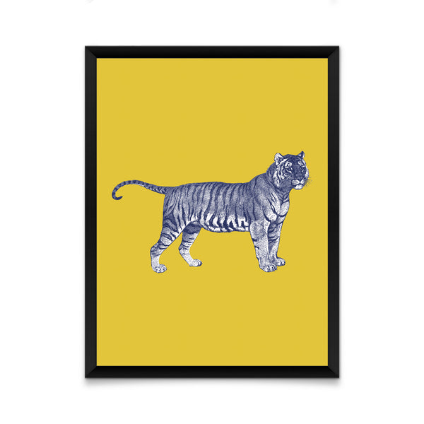 Tiger on yellow print/ wall art