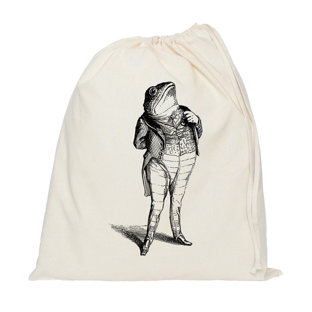 Toad in a suit drawstring bag