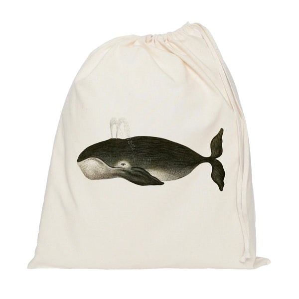 Black whale drawstring bag