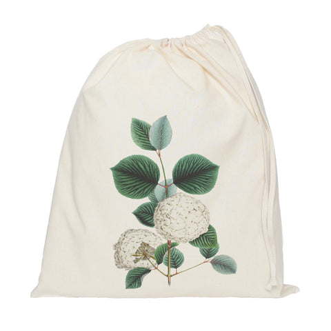 White flower drawstring bag