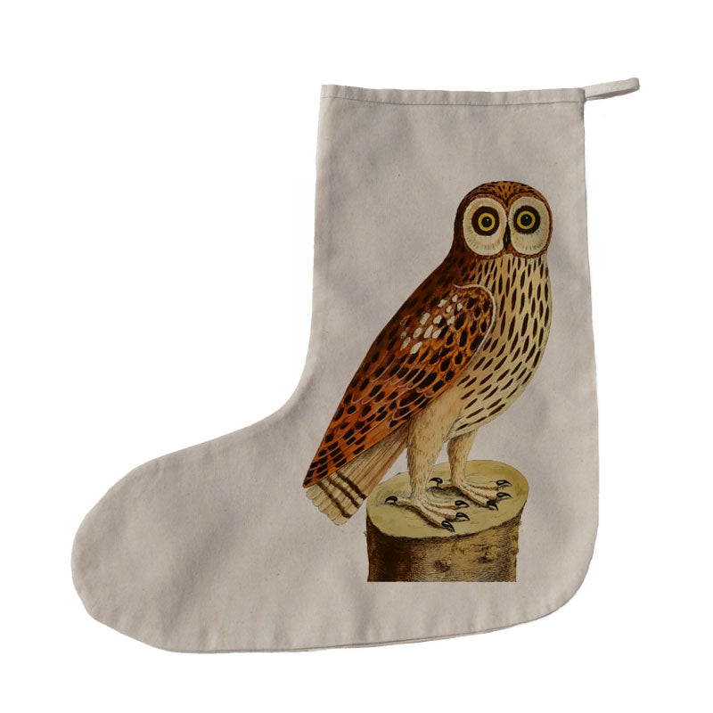 Owl on a log Christmas stocking