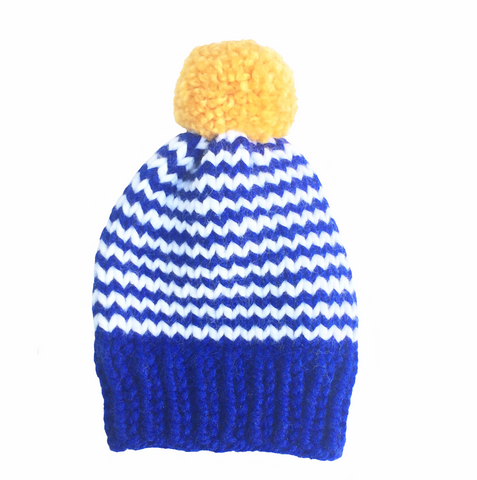 Blue and white stripy with mustard bobble woolly hat