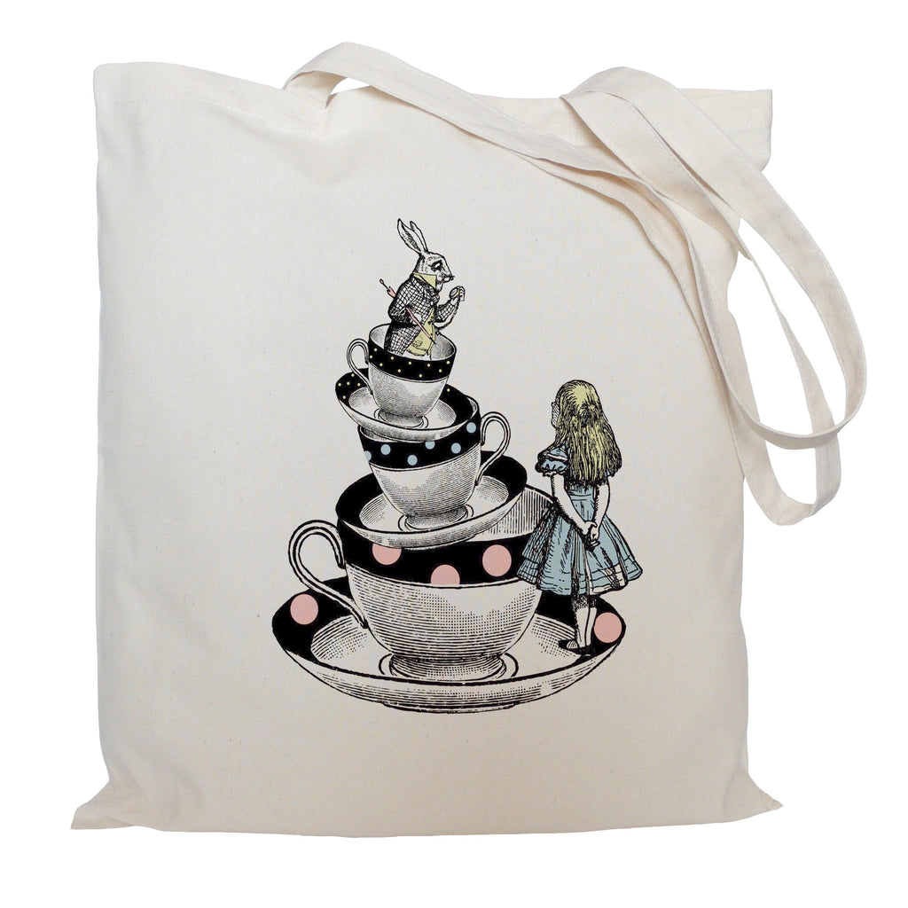 Alice in Wonderland on tea cups tote bag