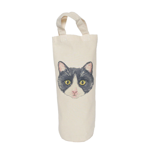 Black and white cat bottle bag