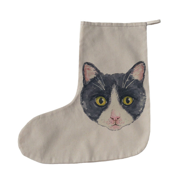 Black and white cat Christmas stocking