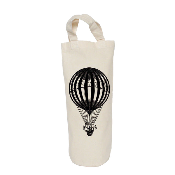 Hot air balloon with flags bottle bag