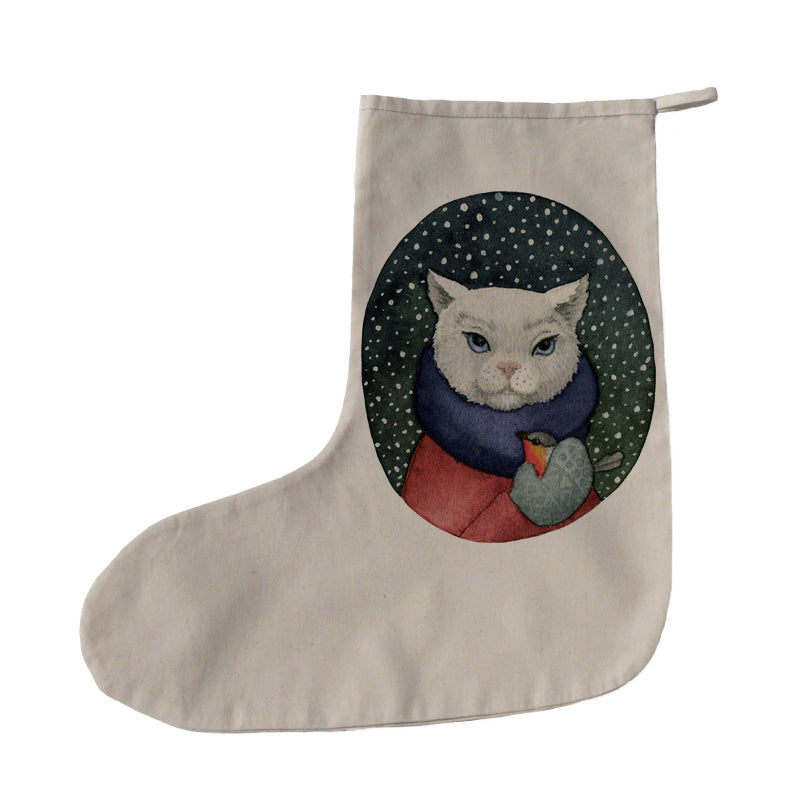 Cat with bird Christmas stocking