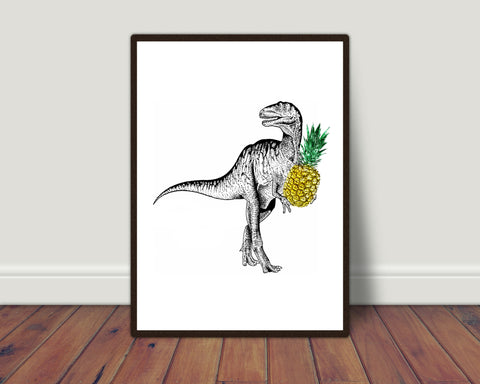 Dinosaur with pineapple print/ wall art