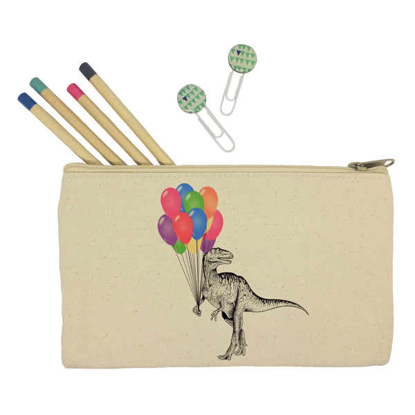 Dinosaur with balloons pencil case