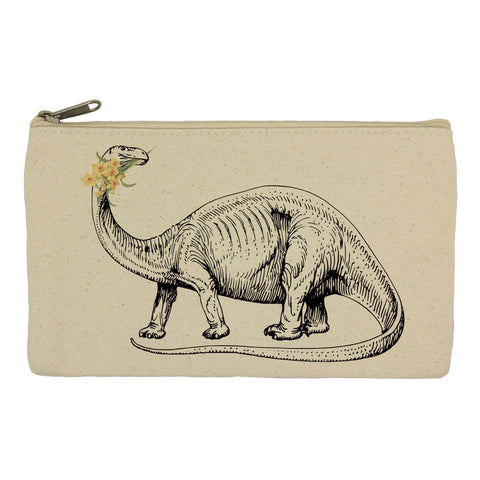 Dinosaur with daffodils pencil case