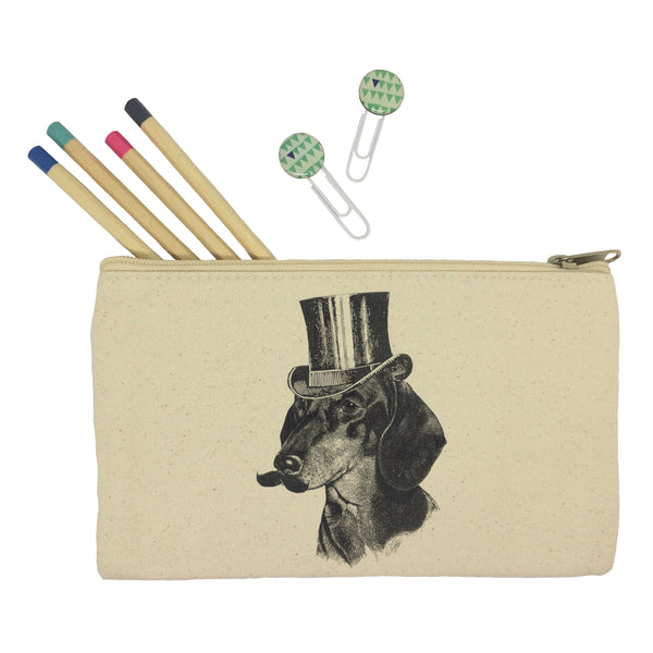 Dog with mustache pencil case