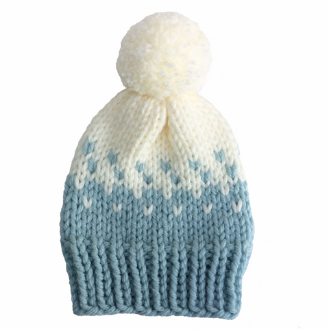 Light blue and white woolly hat