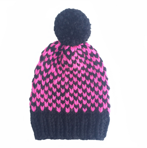 Black and pink chevron woolly hat