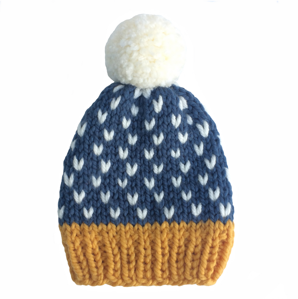 Blue, white and mustard woolly hat