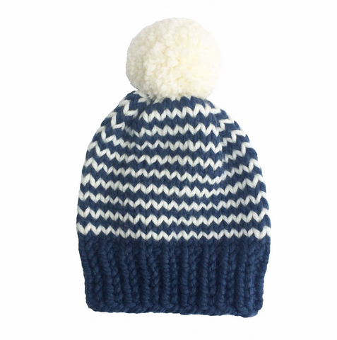 Blue and white stripy woolly hat