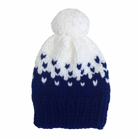 Blue and white woolly hat
