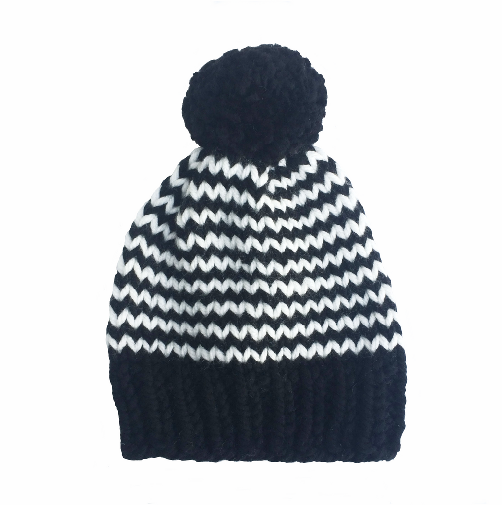 Black and white stripy woolly hat