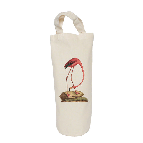 Flamingo on a rock bottle bag