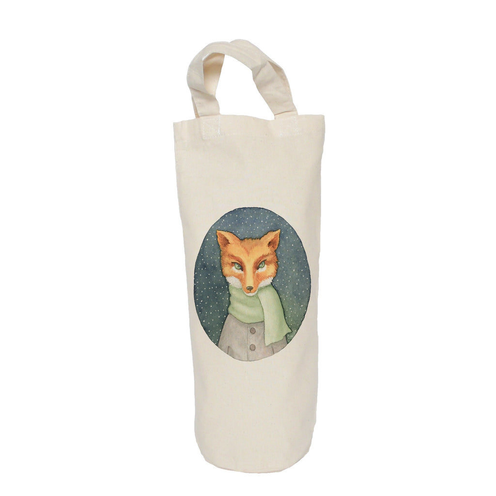 Fox in a scarf bottle bag