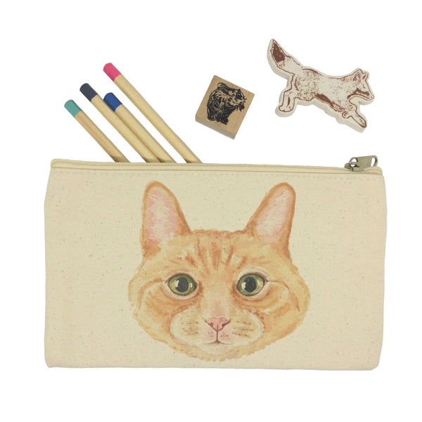 Ginger cat head pencil case