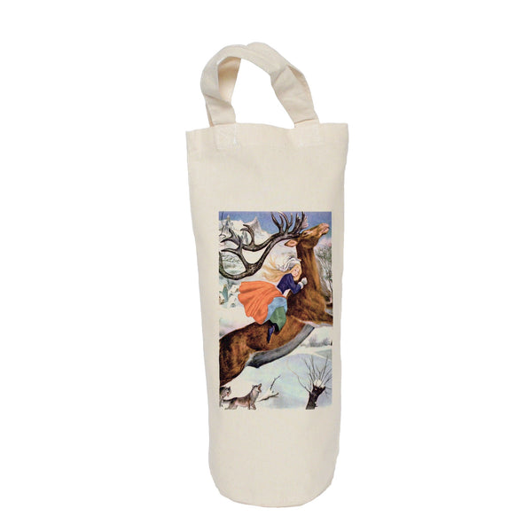 Girl on a stag, vintage image bottle bag