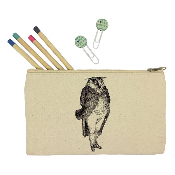 Owl in a suit pencil case