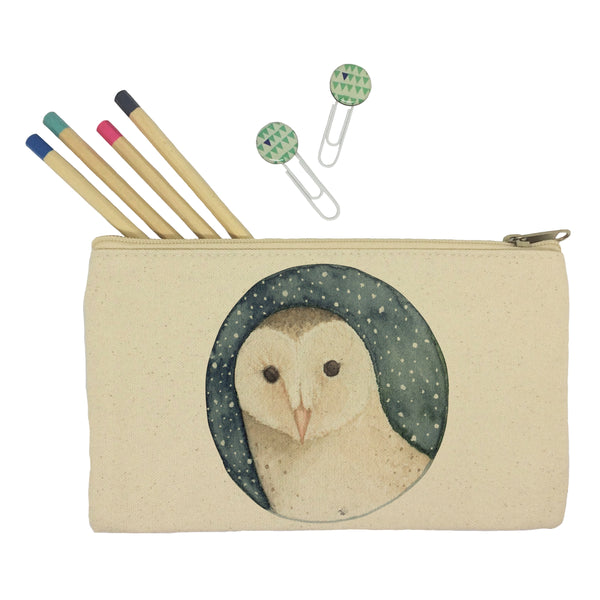 Owl on starry sky pencil case