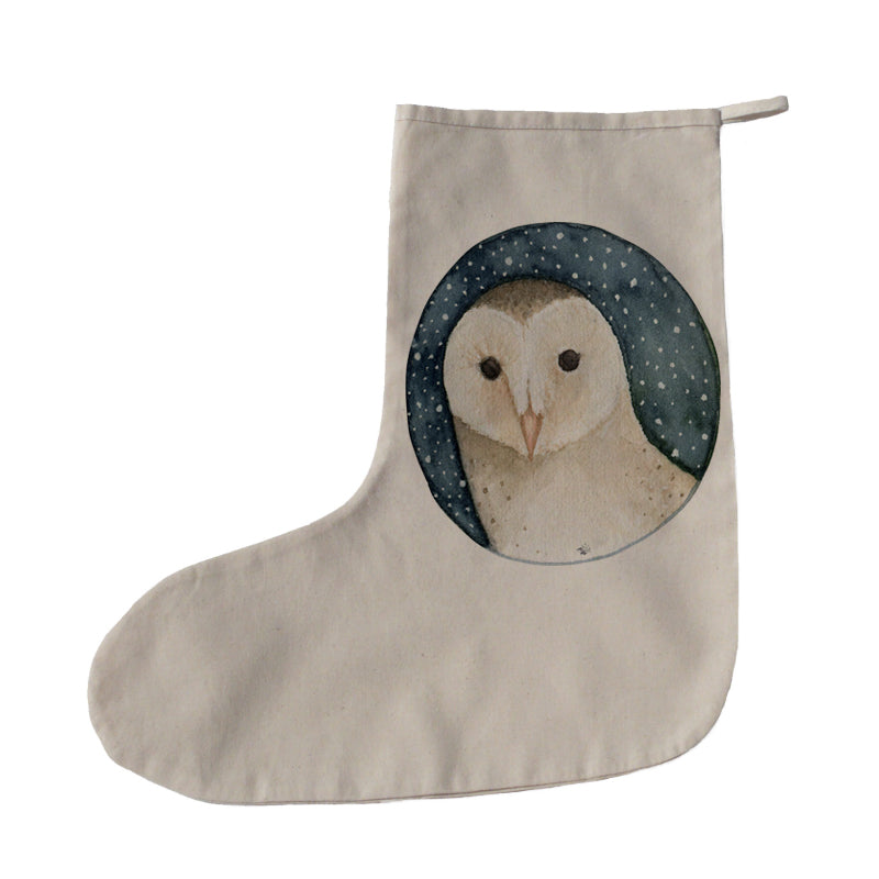 Owl on starry night Christmas stocking