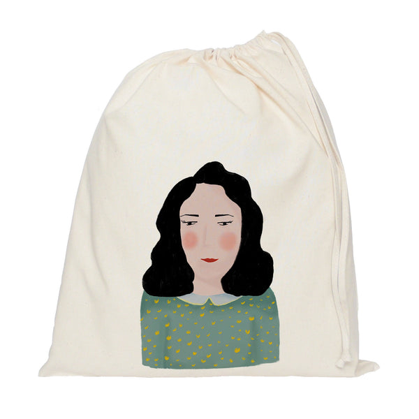 Painted lady drawstring bag