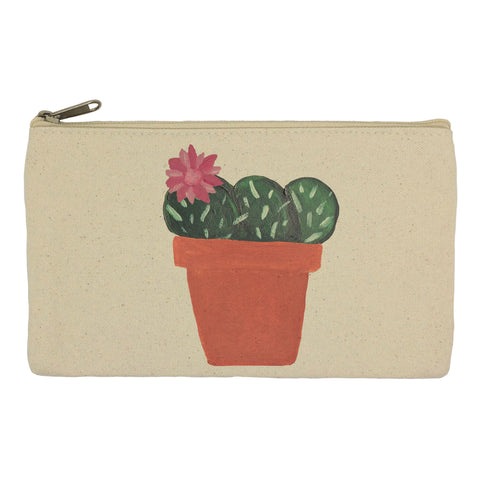 Pink flower cactus pencil case